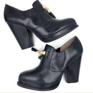 Black leather Seychelles platform loafer pumps 10